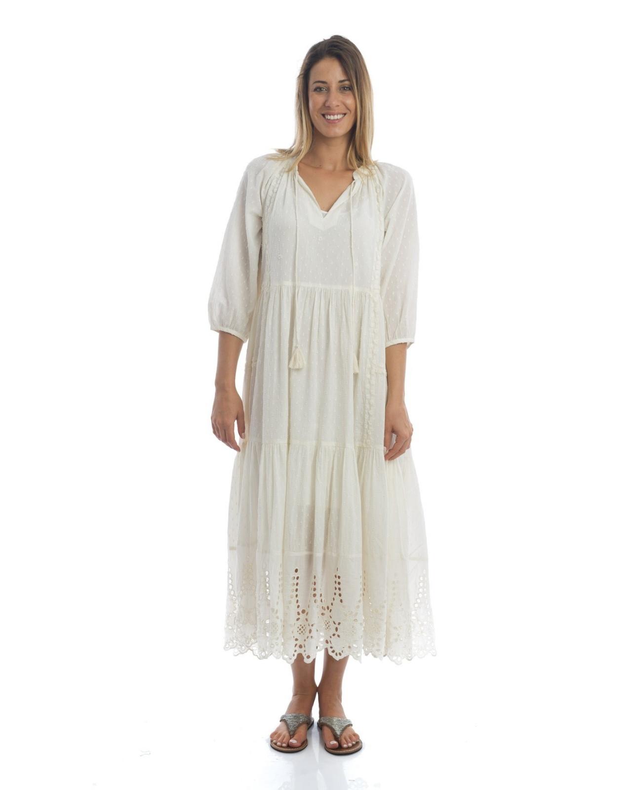 longue robe boh me blanche manches longues et col en v. Black Bedroom Furniture Sets. Home Design Ideas